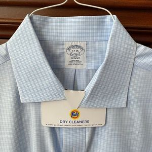 Brooks Brothers open collar, tiny-check shirt.